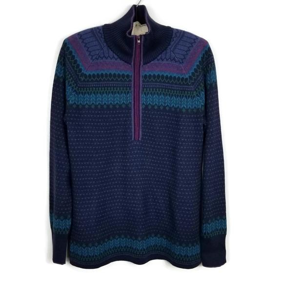 1c5ffa3288ef6 NWT Eddie Bauer Engage Fair Isle 1 4 Zip Sweater L